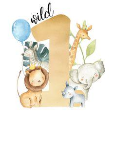 Shop Wild One Safari Jungle Animals Gold Greenery Cute Invitation created by GalaxyDONUT. Safari Theme Birthday, Baby Boy 1st Birthday Party, Birthday Themes For Boys, Safari Party, Animal Birthday, Baby Art, Baby Scrapbook, Jungle Animals, Baby Kind