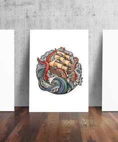 Abandon Ship Kraken Pirate Ship Tattoo Art by TheContraryCaptain