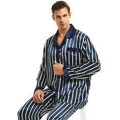 175145072d3 MSA Signature Mens Silk Satin Pajamas Set Sleepwear Loungewear S ~ 4XL  Striped