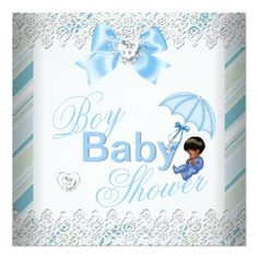 Baby Shower Boy Blue White African American