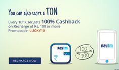 #Paytm exclusive offer on #recharge of Rs.100 & chance to get 100% cashback offer. Hurry up!
