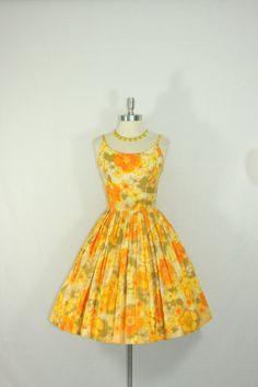Bright 1950's Vintage Dress - Orange Yellow and White Cotton Pique Floral Watercolor Full Skirt GARDEN PARTY Frock