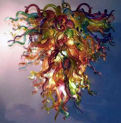 Colorful Glass Chandelier By Robert Kuster of Belle Mead Hot Glass - on glassart