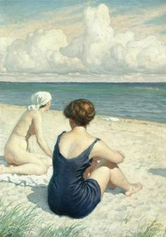 Women on the beach in Falsterbo - Paul Gustave Fischer (Danish, 1860-1934)
