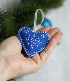 Blue Felt Heart Snowflakes Felt Heart Christmas by LorenzaPari
