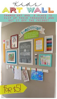 Kids Art Wall | Framed art and a place to clip up the kids' treasures, and get it off the fridge.