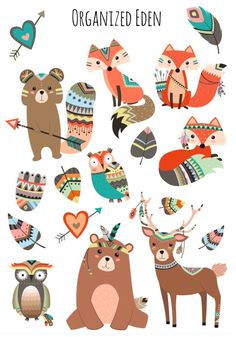 Stamm der Wald Bild Aufkleber Erin Condren Plum Kikki K Planner Stickers, Printable Stickers, Kids Stickers, Erin Condren, Tribal Animals, Tribal Arrows, Doodles, New Sticker, Woodland Party