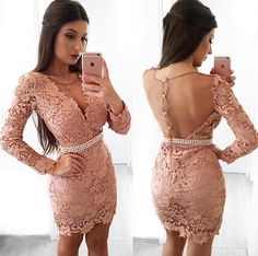 Sheath V-Neck Long Sleeves Blush Lace Homecoming Dress With Pearls,Short Homecoming Dresses , Juniors Homecoming Dresses, Cheap Homecoming Dresses,Dresses For Fly Bidal Long Sleeve Homecoming Dresses, Prom Dresses, Cute Dresses, Short Dresses, Dress Up, Bodycon Dress, Dress Long, Pink Dress, Pearl Dress