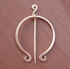 "Wire Shawl Pin -- I don't see this style in the shop any more. I like the way the stick extends beyond the ""hinge""."