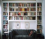Built in bookcase over sofa