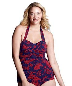 8 Flattering Plus-Size Bathing Suits:  Stylish cuts and pretty patterns make for splashy bathing suits in sizes up to 34W.