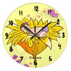 Customizable sleeping baby girl wall clocks