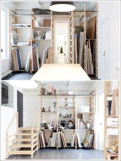 Galleri Magnus Karlsson Storage room/Showroom – look at that art studio storage! Art Studio Room, Art Studio Storage, Art Studio Design, Art Studio Organization, Art Studio At Home, Art Storage, Art Studio Spaces, Garage Art Studio, Art Studio Decor