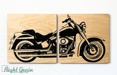 Harley Davidson Softail Motorcycle Wall Art - Harley Print on Wood Panels. Bring your favorite art to life with a detailed print on real wood! http://prolabdigital.com/products-services/fine-art-digital-prints/wood-prints.html