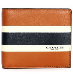 COACH Men's Wallet Leather Compact ID Varsity Saddle Brown NWT 75086 Fathers Day #Coach #Bifold