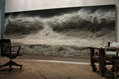 """extremely beautiful """"Open Water No. 17″ by Ran Ortner, Oil on Canvas, 84 x 108″, 2009."""