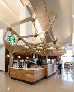 The Starbucks store at T51 in the Los Angeles Airport celebrates the craft of coffee making. Wagner and fellow designer Jennifer Porteous drew inspiration for the design from the pattern of foamy milk at the top of a handcrafted latte.