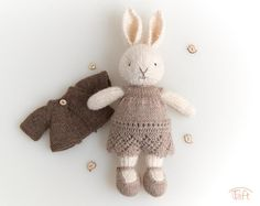 """Knitted Bunny """"Lara"""" with knitted clothes Julie Williams, Little Cotton Rabbits, Crochet Teddy, Plush Animals, Metal Buttons, Cotton Thread, Wool Yarn, Bunny, Handmade Items"""