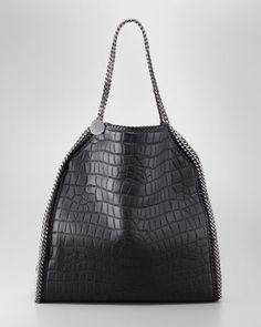 Falabella Crocodile-Embossed Large Tote Bag, Black by Stella McCartney at Neiman Marcus.