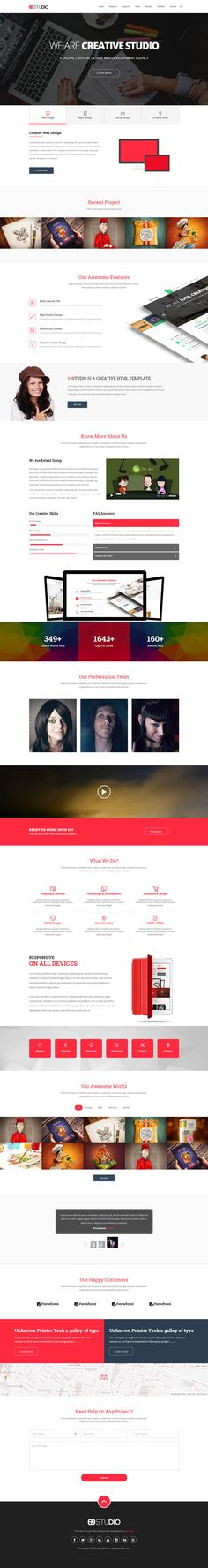 '69Studio' is a responsive One Page HTML template suited for digital agencies. The header area comes with 3 background options: slideshow, parallax and video. Scrolljacking aside, the template has all the regular portfolio sections you'll need and ends strong with a big clear contact form and footer. Good to see a 5 star rating currently on ThemeForest.