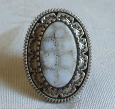 NAVAJO Sterling Silver & WHITE Agatized FOSSIL CORAL RING signed TONEY MITCHELL
