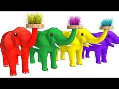 Learn Color & Learn Spell Grass Elephant Animals W Cartoon Nursery Rhymes Song For Children - YouTube