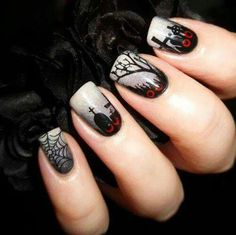 halloween nails art design   web   black   gothic   grave   acrylic  dark   gel polish