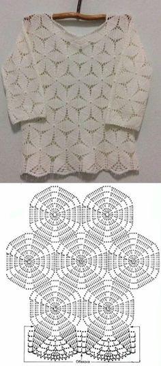 Gilet Crochet, Crochet Tunic, Crochet Scarves, Crochet Lace, Crochet Motif, Crochet Leaf Patterns, Crochet Chart, Crochet Stitches, Crochet T Shirts