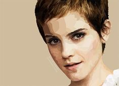 Stylized interpretation of the person. Recognizable from first glance, it uses many different tones to accentuate the highlights and shadow on her face.