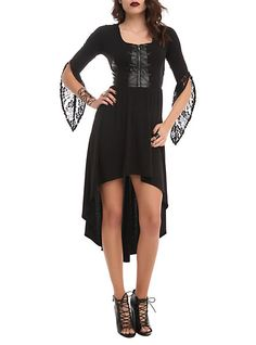 We might be able to thank Disney for bringing back wicked witch Girly Goth style!? lol Disney Maleficent Corset Hi-Lo Dress | Hot Topic