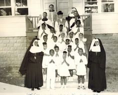 Sisters Alphonsa, Callista and Emily with a group of First Communicants from St. Joseph's in Glen Arden MD [now Largo] in July 1947.