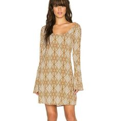 "Maize Bell Sleeve Dress A soft ""sand dollar"" color. Adorable hippie fit dress. 100% rayon Unlined Shoulder to hem measures 34"" length  Runs a little large in my opinion, size small but would fit a medium best. (Listed as a medium for this reason) Yireh Dresses Long Sleeve"