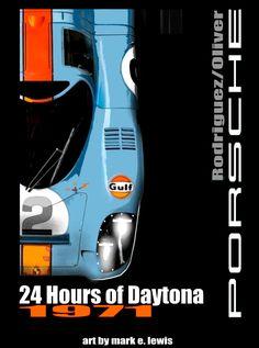 Poster art by Mark E. Porsche Motorsport, Porsche 918, Porsche Cars, Sport Cars, Race Cars, Steve Mcqueen Le Mans, Car Illustration, Automotive Art, Vintage Racing