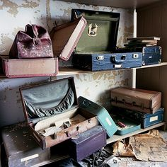 patient suitcases (by Lindsay Blair Brown) Abandoned Prisons, Abandoned Houses, Abandoned Places, Willard Asylum, Blair Brown, Home Structure, Romance Novel Covers, Abandoned Hospital, Colors And Emotions