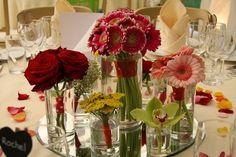 Germini's Red Grand Prix Roses, Orchids & Achillea