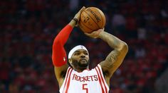 Josh Smith of the Houston Rockets shoots against the Golden State Warriors in the first quarter during Game Four of the Western Conference Finals of the 2015 NBA PLayoffs at Toyota Center on May 25, 2015 in Houston, Texas