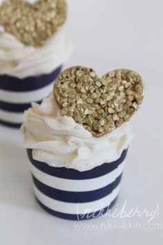 Gold and Silver Sequin Heart Cupcake Toppers by nikkiikkin on Etsy, $27.00