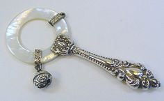 Antique Sterling Silver Mother of Pearl Baby Rattle Ornate Handle | eBay
