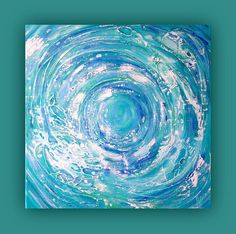Abstract painting on standard canvas using acrylic and mixed media to create a textured abstract wave effect Size: 40x40 cm, 16x16 inches Title: Sea Swirl Painted on all sides and signed on the front and back. A signed and dated Certificate of Authenticity will be included with your purchase. All images are for illustrative purposes only, colours and sizes may vary. Copyright © all text and images Ben Dyer Original Art .