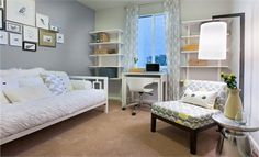 Great design for dual use room.  Guest room and office in one!