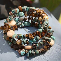 Wrap Bracelet with Blue Sky Jasper Tiger Eye by CopperNThreads