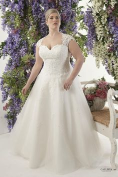 Corded lace appliqué and soft tulle A line skirt Plus Size Wedding Dress