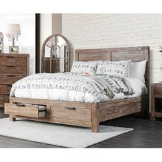 Inspired by the great outdoors, the Furniture of America Perrie Storage Bed is the perfect focal point for a rustic bedroom. The solid wood bed. Storage Bed Queen, Bed Storage, Storage Drawers, Cal King Bedding, King Bedroom Sets, Wood Bedroom Sets, Bed Furniture, Rustic Bedroom Furniture, Furniture Design