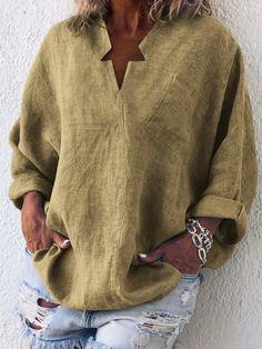 Casual Long Sleeve Cotton-Blend Plain Plus Size Blouses – monyberry Cute Blouses, Plus Size Blouses, Shirt Blouses, Blouses For Women, Top Fashion, Plus Size Fashion, Fashion Blouses, Fashion Outfits, Blouse Online