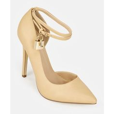 Justfab Pumps Lockette ($40) ❤ liked on Polyvore featuring shoes, pumps, beige, pointed-toe pumps, pointy toe ankle strap pumps, platform shoes, ankle strap pumps and high heel pumps