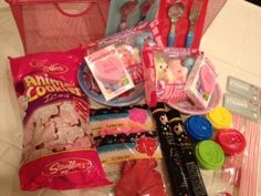 Valentine gift baskets for kids using the $1 section at Target!  :)