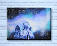 Original Gemälde betender Engel 50x70 cm, Engel Bild, Engel Gemälde, betender Engel Gemälde, spirituelle Kunst von TerraSomniaAngels auf Etsy Pray, Angel Paintings, Wall Art, Night, Artwork, Instagram, Furniture, Decor, Canvas Frame
