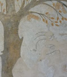 Art from medieval Europe: the Massa Marittima fresco. Are the black lines to the right of the trunk of the tree the remains of a serpent figure? If so, this would without doubt change the contention of the painting as a secular one to a religious Christian one with obvious connections to The Book of Genesis and the story of Adam and Eve.