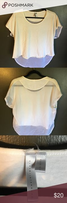 Blood is the new black white high low sheer back. Great T-shirt for the summer. High low cut with the entire back being a white sheer material. Was accidentally bleached. So the front of the shirt is white-yellow. Also, small black scuff mark on back that should be removable. Would fit multiple sizes as it is a bit loose as a medium. Please comment with questions, concerns, trading, bundles, price, etc. Tops Crop Tops