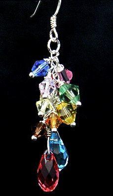 Colorful assortment of Swarovski crystals.
